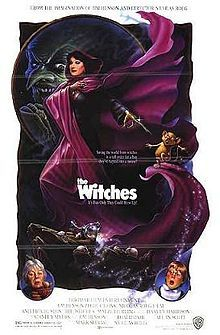 The Witches Theatrical release poster //  Directed byNicolas Roeg  Produced byJim Henson  Mark Shivas  Dusty Symonds  Screenplay byAllan Scott  Based onThe Witches by  Roald Dahl  StarringJasen Fisher  Anjelica Huston  Mai Zetterling  Rowan Atkinson  Music byStanley Myers  CinematographyHarvey Harrison  Editing byTony Lawson  StudioJim Henson Productions  Distributed byWarner Bros. Pictures  Release date(s)United Kingdom  25 May 1990  United States  24 August 1990