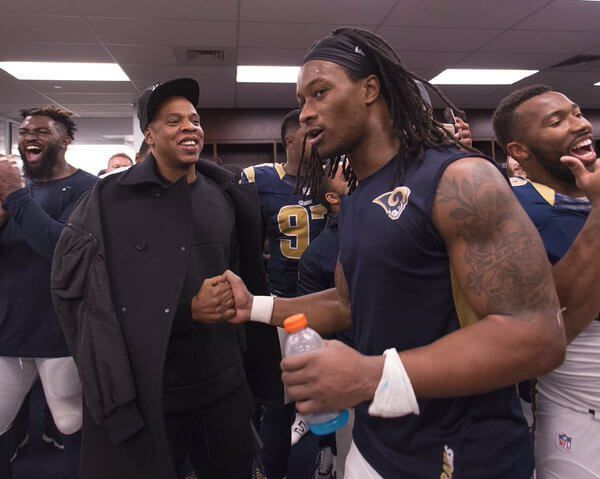 Jay Z Joins St. Louis Rams' Locker Room Celebration.   The St. Louis Rams experienced the perks of having a Roc Nation Sports athlete on your roster yesterday. Following the Rams' 21-14 win over the Detroit Lions, Mr. Roc Nation Sports himself, Jay Z, snook into the locker room to celebrate with the team and his client, running back Todd Gurley, who earned himself MVP of the game by rushing for 140 yards and two touchdowns. Let's see if Hov will turn out to be the Rams' lucky charm for the…