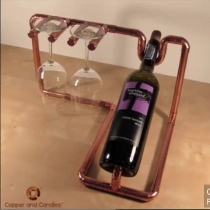 Cooper wine bottle and glass holder