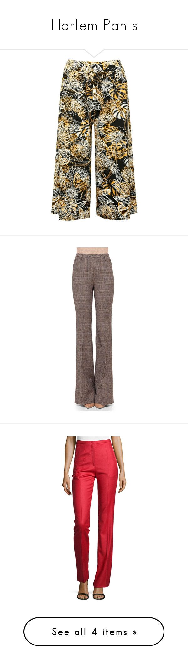 """Harlem Pants"" by missk2blue ❤ liked on Polyvore featuring pants, capris, black, high waisted stretch pants, elastic pants, wide leg summer pants, stretch trousers, wide leg trousers, rye and brown trousers"