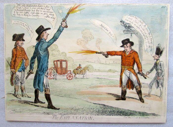 James Gillray (1757-1815) - de uitleg een satirische prent van James Gillray beeltenis van het beruchte duel tussen William Pitt en George Tierney.1798  De uitleg een satirische prent van James Gillray beeltenis van het beruchte duel tussen William Pitt en George Tierney. Gepubliceerd door Hannah Humphrey Londen 30 mei 1798. 27x37cm. Hand gekleurd etsen. De opdruk van de plaat met minimale marges. Op de keerzijde enigszins bijgesneden is een ongekleurde afdruk van Gillray van 'heiligdom in…
