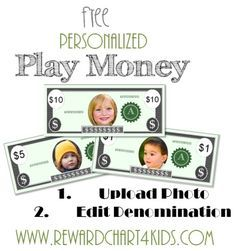 Free printable play money - change the photo and edit the denomination. If using in the classroom take a class vote to decide who should appear on your class money and why they deserve to be there. The play money can be used as rewards in the classroom or at home and redeemed for prizes. (free instant download)