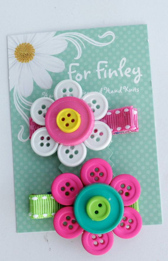 Set of 2 Button Flower Hair Clips pink/blue and door ForFinley, $5.00