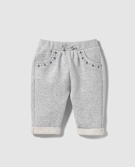 Pantalón deportivo de bebé niña Brotes en gris