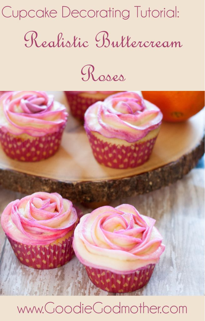 CUPCAKE DECORATING TUTORIAL: Realistic Buttercream Roses - Cupcake flowers are a beautiful decorating idea for weddings, a party, or just because. The post includes a video showing you how to pipe these beautiful roses!