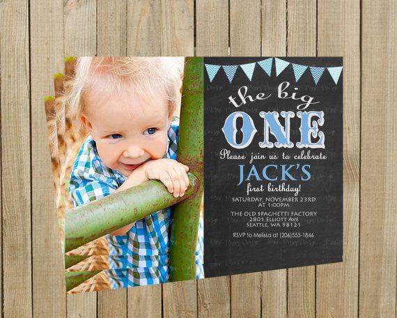 Chalkboard Blue Chevron Banner The Big One First Birthday Invitation, Boy, Printable, Custom Digital File