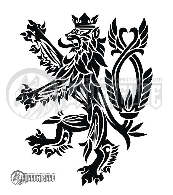 Czech Lion stylized...probably too intricate for the size I want.