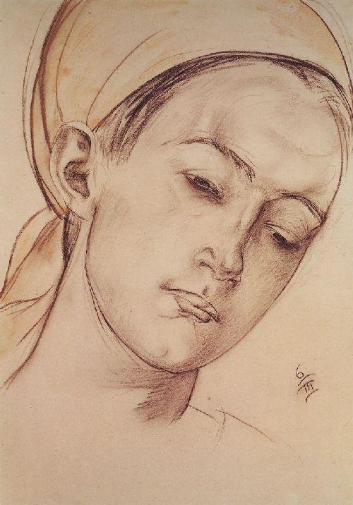Womens head 1913, Petrov Vodkin Kuzma Sergeevich
