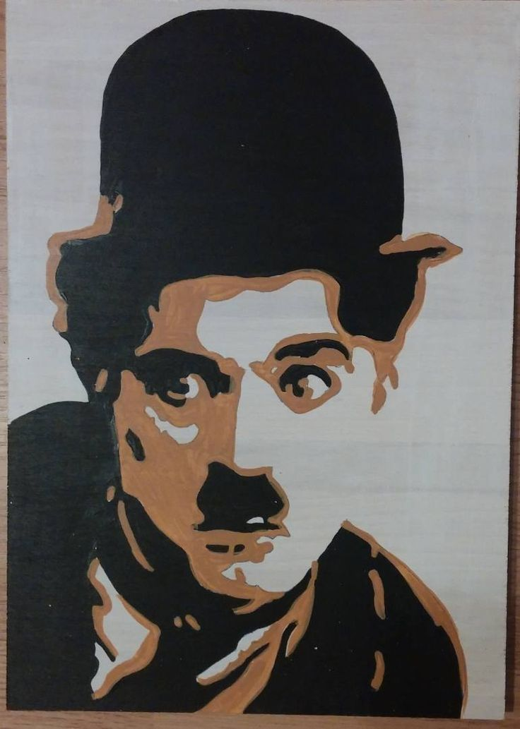 "Saatchi Art Artist Florin Csefko; Painting, ""Charlie Chaplin Picturi Acrilice pe lemn"" #art"
