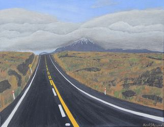 Road Trip, Desert Road, Mount Ngaruhuoe acrylic on canvas 45cm x 35cm