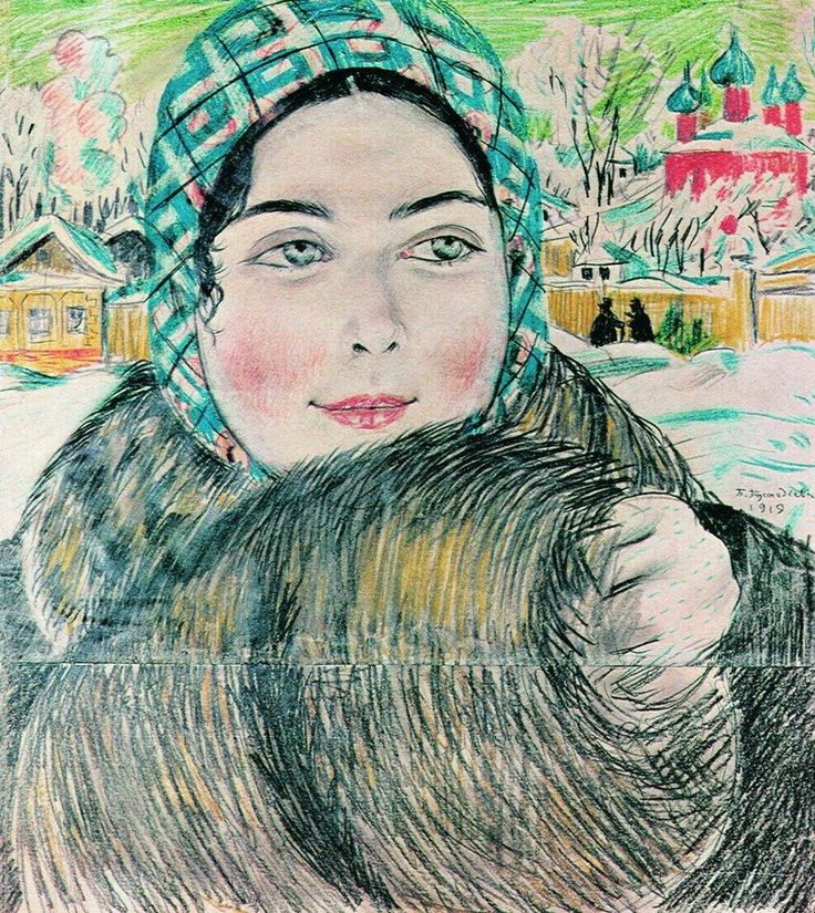 A young merchant's wife in the a checkered scarf, 1919  Boris Kustodiev