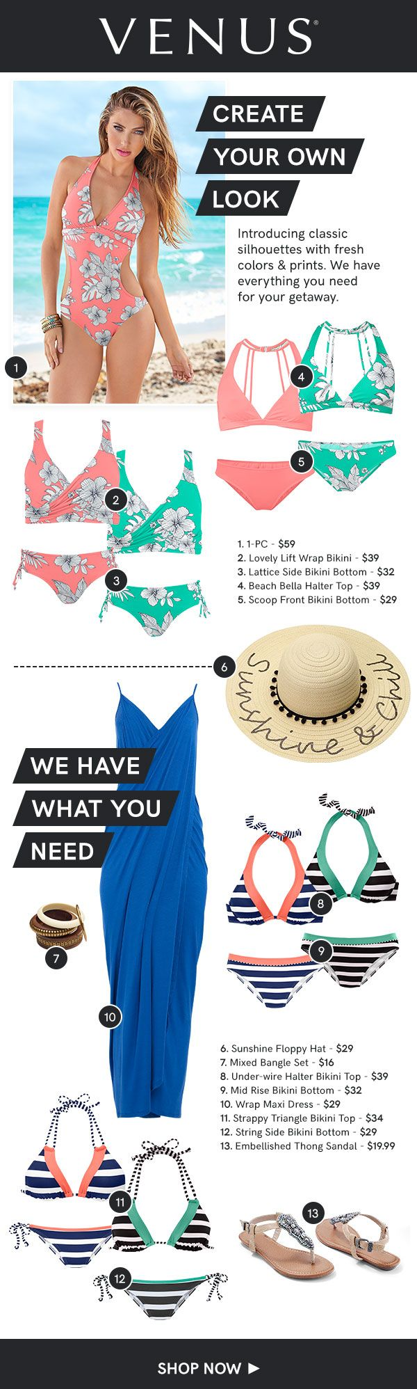 Mix and Match styles, solids, and prints to create your own beach-ready look! #venusswimwear #swimwear