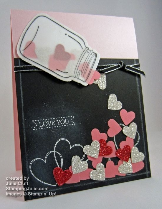 I love Julie's Jar of Hearts Valentine Card! She used Perfectly Preserved & its framelits, Hearts a Flutter, Itty Bitty Banners, Red & Silver Glimmer paper, & Heart punch. Video.
