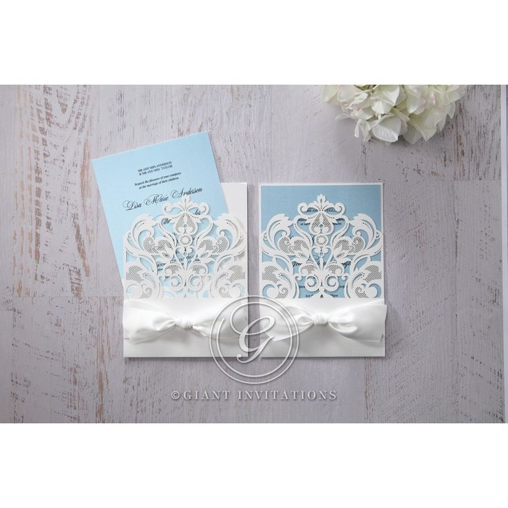 marriage invitation sms on mobile%0A Blue Classy Laser Cut with White Bow  Wedding invitation