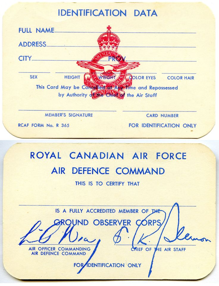RCAF Ground Observer Corps Membership Card (English)