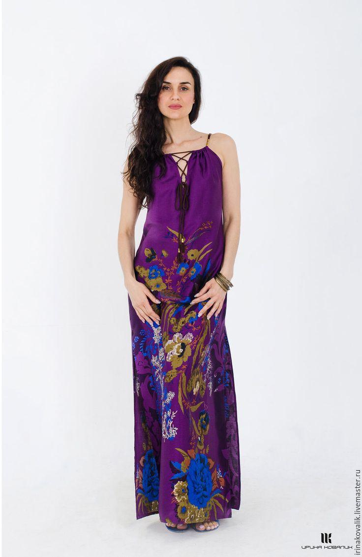 """Купить Сарафан в стиле """"Бохо"""" - цветочный, фиолетовый, сарафан летний, сарафан бохо, платье в пол"""