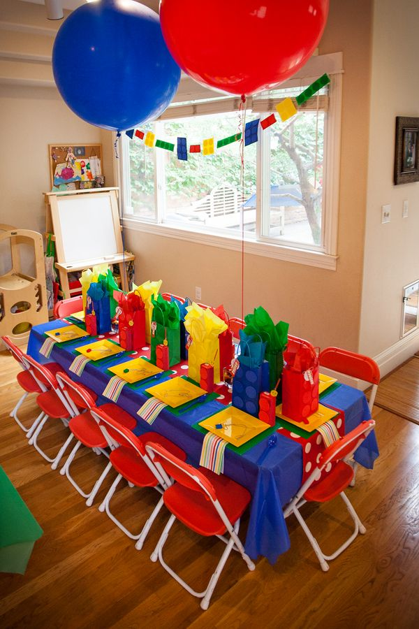 The Frosted Petticoat: In Your (Lego) Dreams! Party Table- Primary bold colors