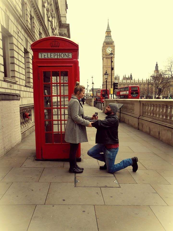 Our wedding proposal at the Big Ben and red telephone booth in London.