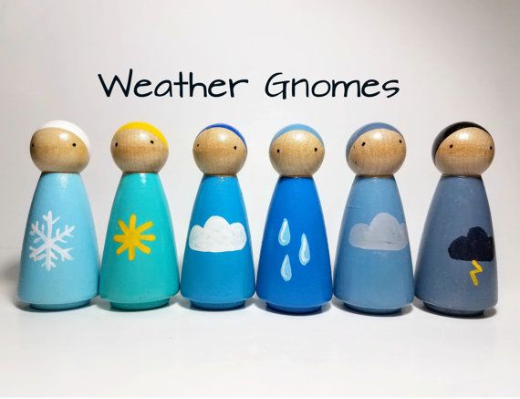 Weather Gnomes Peg Doll Set, Montessori Learning Resource, Unique Gift, Wooden Toys, Nursery Decor