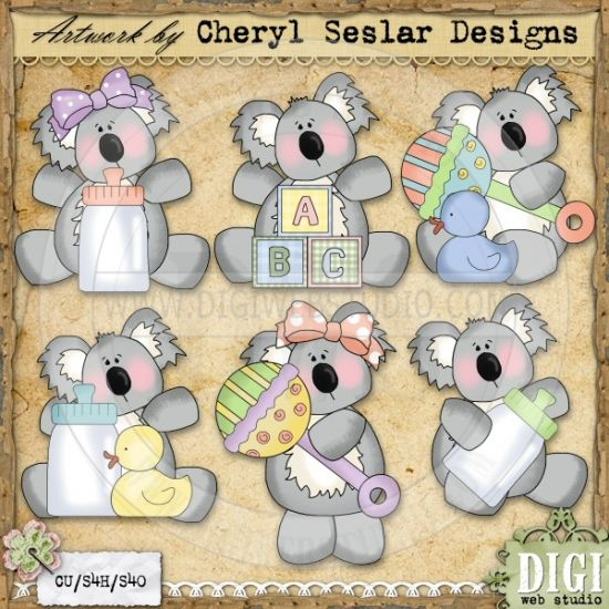 Koala Babies 1 - Exclusive Cheryl Seslar Clip Art Download