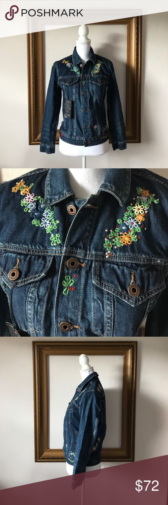 Lucky The Tomboy Trucker embroidered denim jacket NWT. So darling! 17.5 inches armpit to armpit. 22 inches shoulder to bottom of jacket. 17 inches armpit to end of sleeve. Lucky Brand Jackets & Coats Jean Jackets