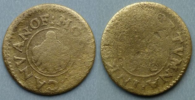 Portumna (Galway), Mortagh Canvan 1658 (penny?) Obv: :MO[RTAGH].CANVAN.OF , around linear inner circle, scallop shell within. Rev: :P]ORTVMNA.INKEE[PER , around linear inner circle, [ ] over 58 within. Previously unrecorded, the only known example. Weight: 1.50 grams.  The christian name is not certain, also the surname of the issuer has been interpreted as Ganvan