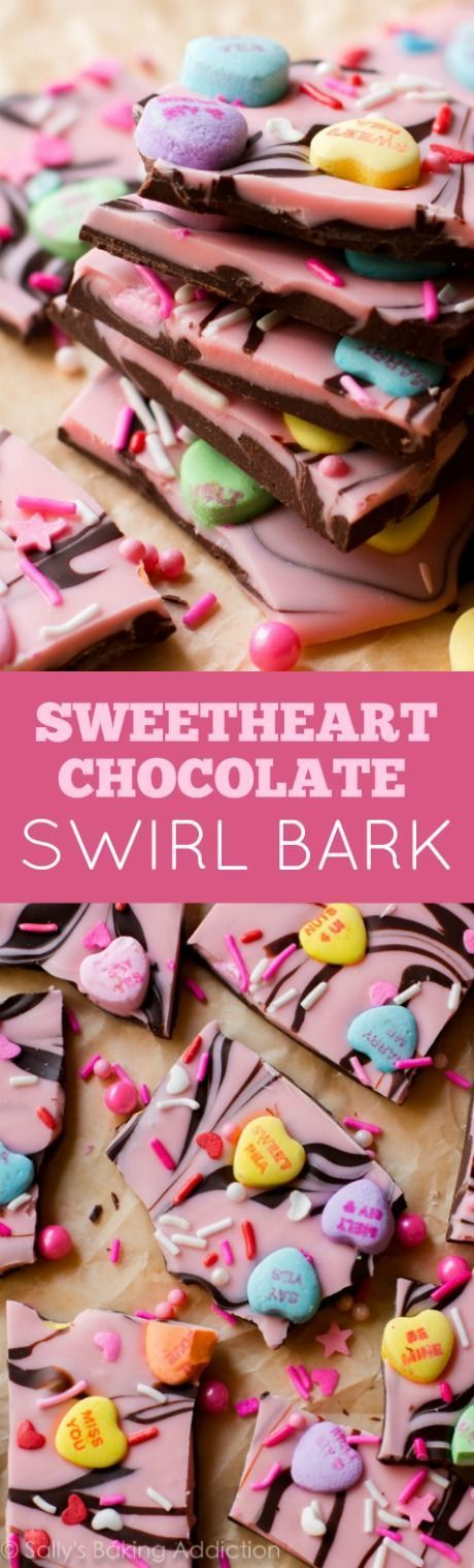 Super simple chocolate bark swirled with pink white chocolate and topped with lots of candy hearts! Easy recipe found on http://sallysbakingaddiction.com