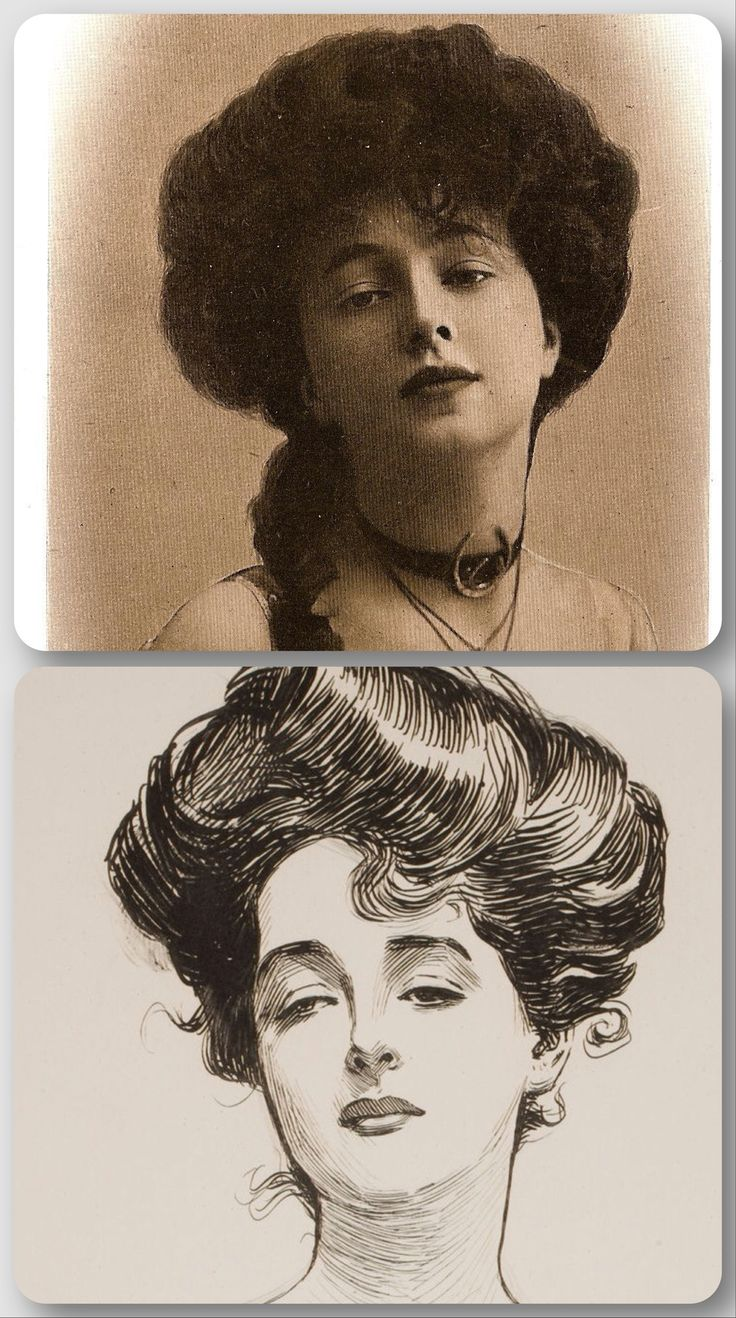 """The Gibson Girl: favored an arrangement with deep, soft waves around the face. Hair was built up at the front in a """"pompadour"""". The ears were uncovered."""