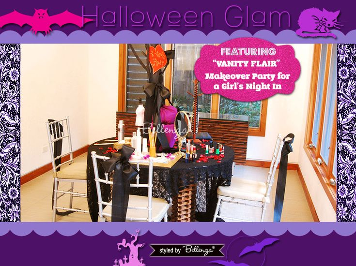 Halloween Makeover Party for a Girl's Night In. A Styled Shoot by Bellenza: http://www.bellenza.com/party-ideas/party-crafts/halloween-glam-makeover-party-girls-night