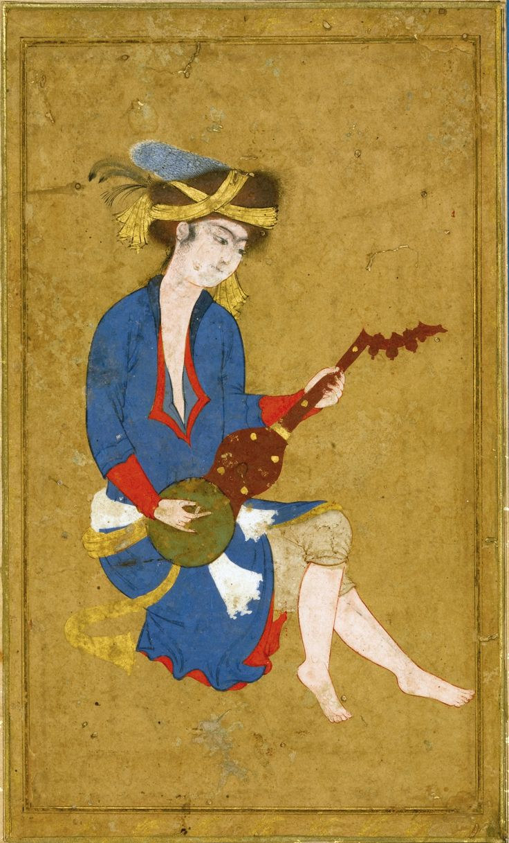 A Youthful Musician, Persia, Safavid, Isfahan or Khurasan, late 16th century Gouache heightened with gold on paper, depicting a youth playing a stringed instrument facing right, a blue tunic over his short grey trousers, laid down on an album page flecked with gold, margins ruled in blue, white and gold, old collection labels to reverse painting: 22 by 12cm. leaf: 46 by 30.4cm.