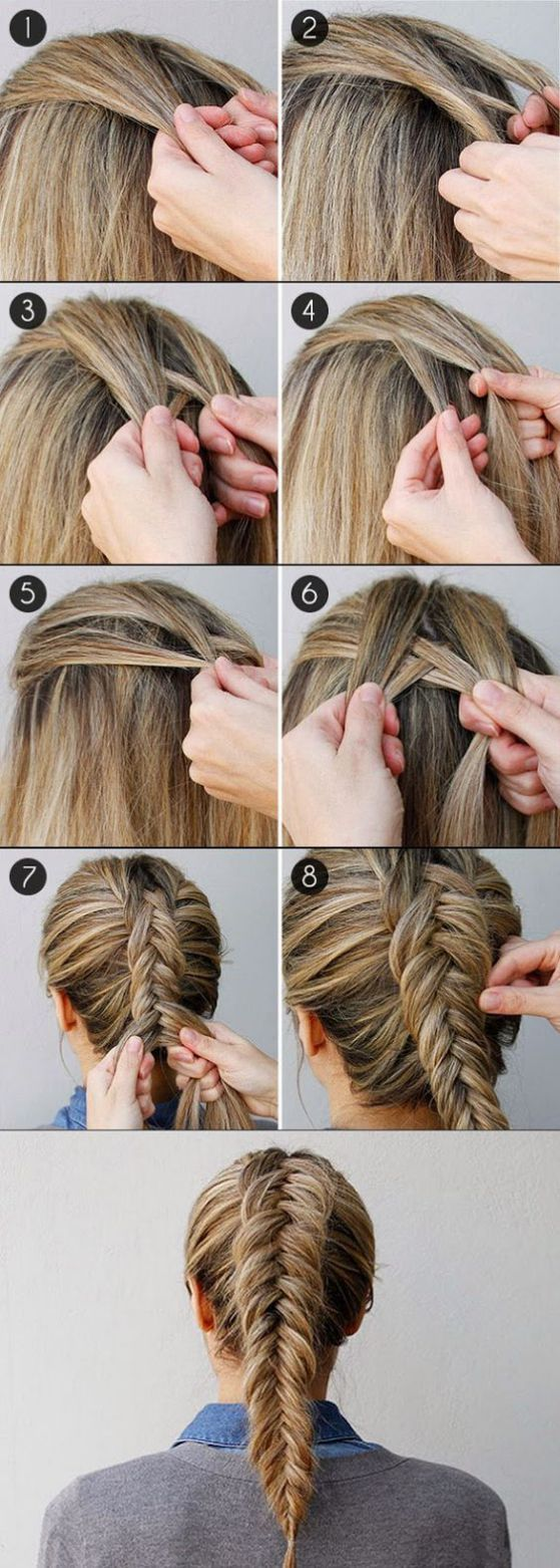 Peinado paso a paso de trenzas en cabello largo y lacio - Braid in straight hair step by step