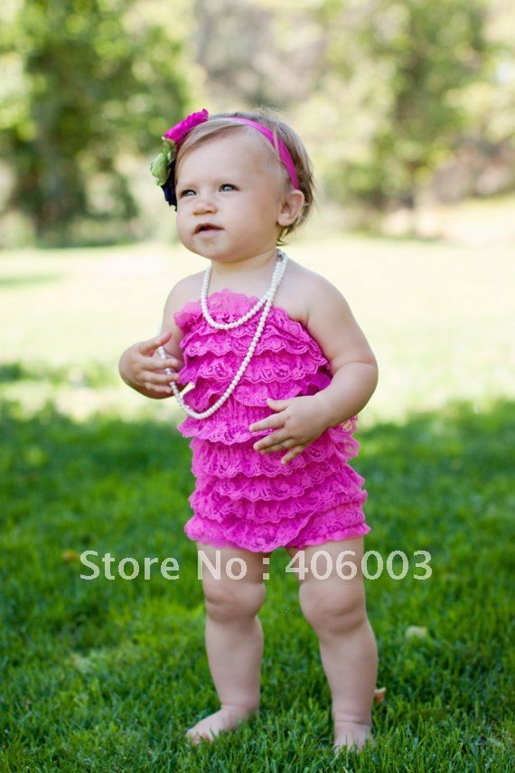wholesale free shipping  6color baby lace petti romper dress mixed color available