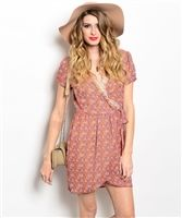 sexy floral wrap lace summer boho cleavage dress