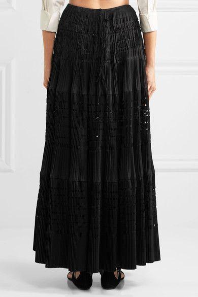 Alaïa - Laser-cut Pleated Cotton-blend Maxi Skirt - Black - FR