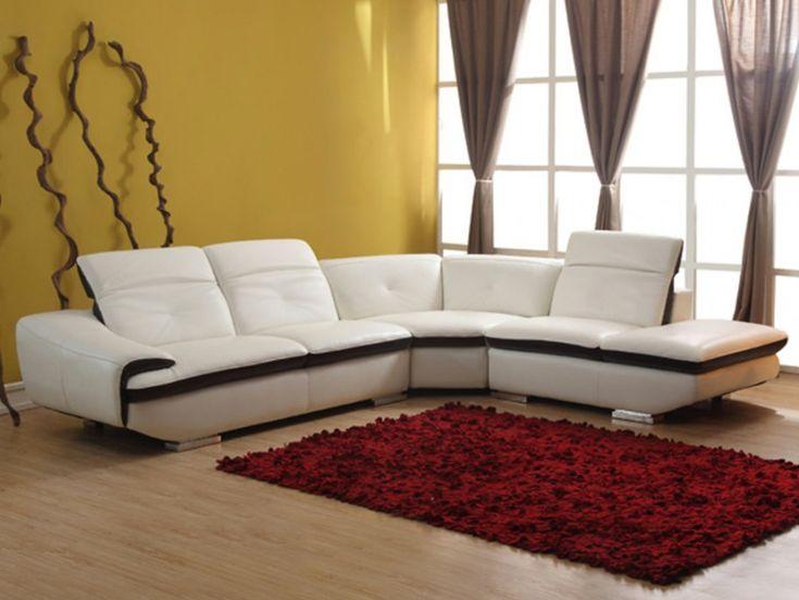 Canape d'angle en cuir LOMANDE - Ivoire