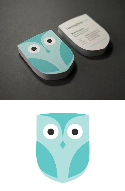Cute Owl Custom Die-Cut Business Card Design