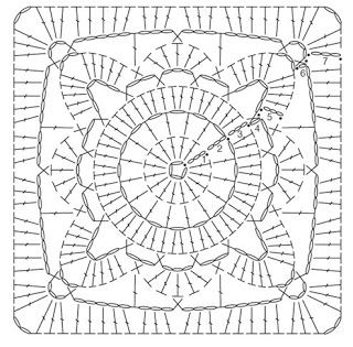 Crochet motif diagram. willow square