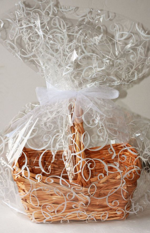 White Swirl Plastic Cellophane Basket Gift Wrap bag, Easter Gift Baskets, Wedding Cello Gift Basket Wrapping Bag Birthday Party Supplies