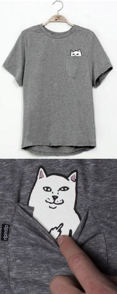 Haha Rude Kitty - Pocket Cat Funny T-Shirt - White cartoon cat giving the finger - cute & sarcastic. cat stuff, cute cats, sarcasm humor, funny memes, cat lady humor, lol cats, cat lover gifts, meow, kawaii fashion, funny t- shirts, obscene gestures. This is an affiliate link.
