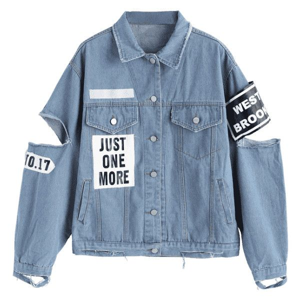 Letter Patched Cut Out Ripped Denim Jacket ($40) ❤ liked on Polyvore featuring outerwear, jackets, tops, zaful, jean jacket, patch jacket, distressed jean jacket, denim jacket and distressed jacket
