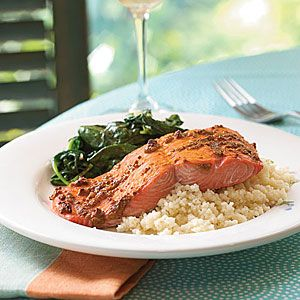 Superfast Fish Recipes | Spiced Salmon with Mustard Sauce | CookingLight.com