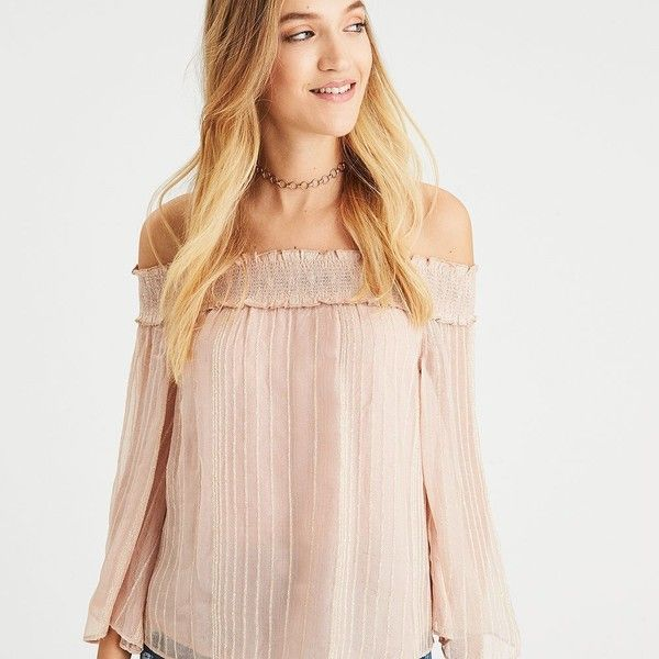 AE Shine Striped Off-the-Shoulder Top ($45) ❤ liked on Polyvore featuring tops, neutral, see through tops, off the shoulder tops, pink off the shoulder top, sheer sleeve top and smock top