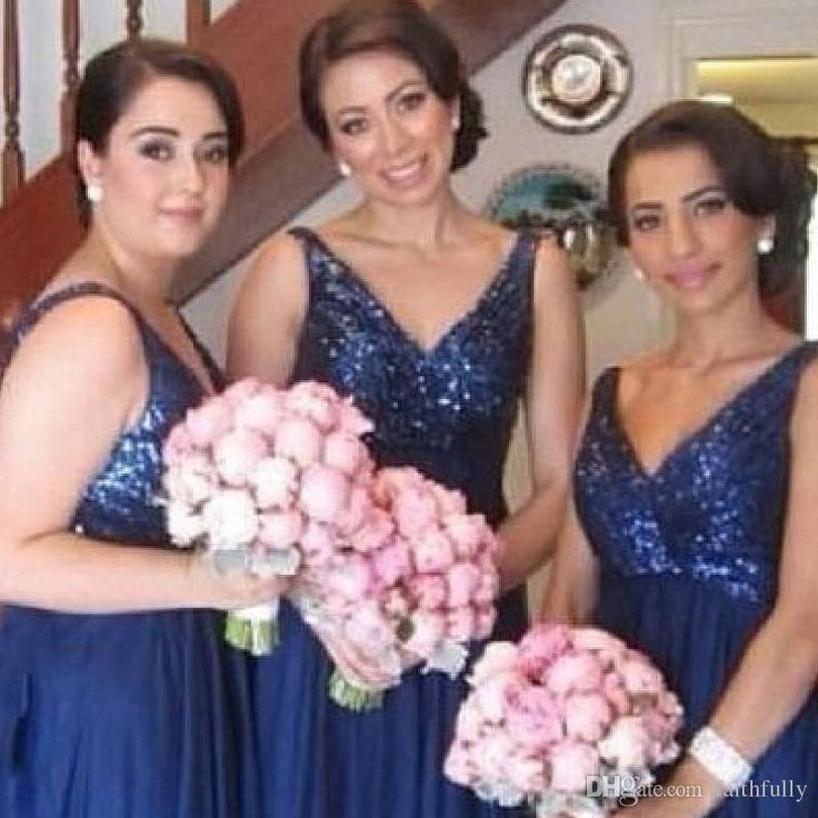 Latest 2017 Royal Blue Sequins Bridesmaid Dresses V Neck Pleats Floor Length Formal Plus Size Chiffon Wedding Guest Gowns Cheap Party Gowns Contemporary Bridesmaid Dresses Discount Bridesmaid Dresses Online From Faithfully, $85.43| Dhgate.Com