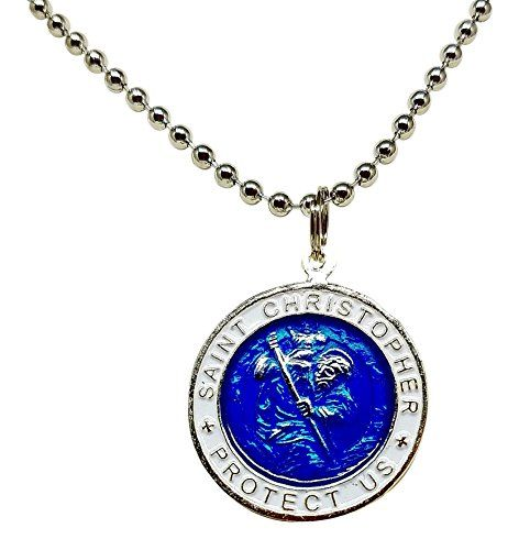 """St. Christopher Surf Necklace, Large Pendant, Royal Blue with White Rim, 23 Inch Ball Chain:   This St. Christopher's medal necklace is made of base silver colored metal. The pendant is blue with a white rim that says """"St. Christopher Protect Us"""". It is one inch in diameter and the back shows a silver color relief image of a surfer surfing. The 23 inch chain necklace is a ball and chain style."""