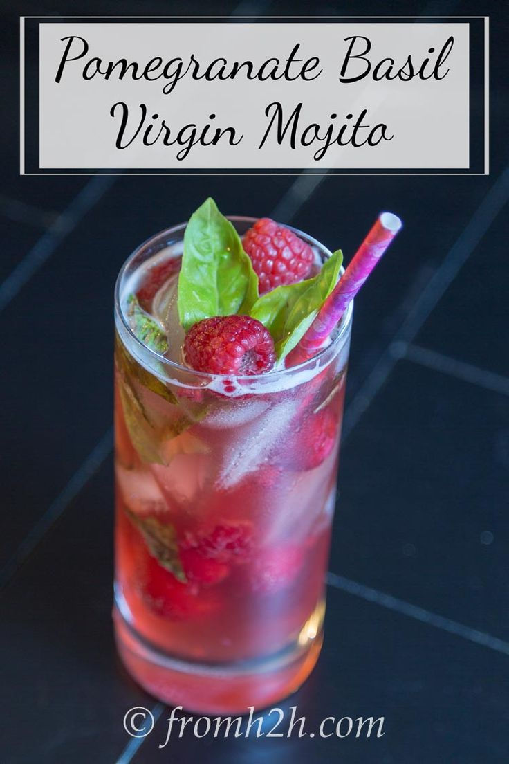 Pomegranate Basil Virgin Mojito | This pomegranate basil virgin mojito is a twist on the traditional mojito that uses basil instead of mint. It is the perfect refreshing drink for a hot day!