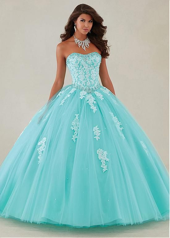 Buy discount Glamorous Tulle Strapless Neckline Ball Gown Quinceanera Dresses With Beaded Lace Appliques & Rhinestones at Dressilyme.com