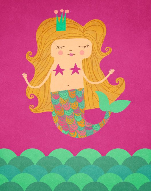 Mermaid art print by ArtByKellie on Etsy, $18.00