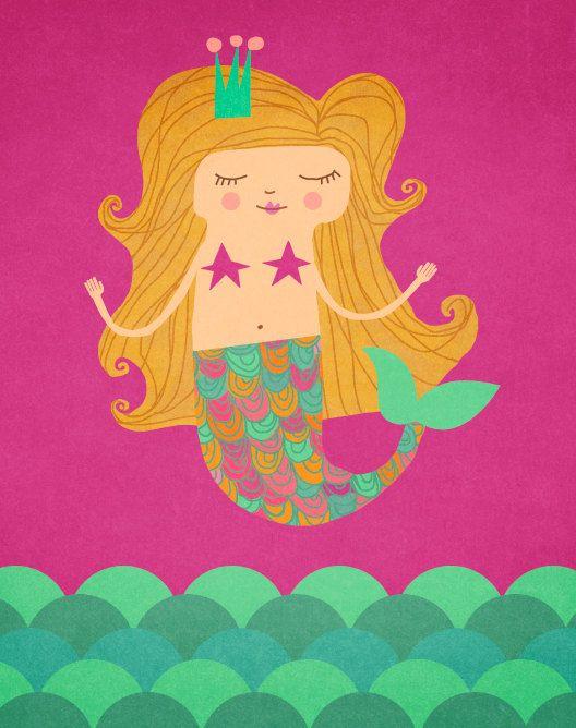 Mermaid art print by ArtByKellie on Etsy, $18.00
