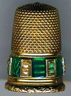 Antique French Gold Thimble with green Enamel, Pearls, etc.