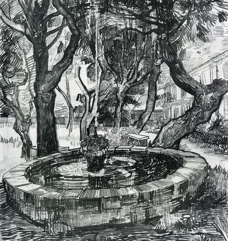 nataliakoptseva: Vincent Van Gogh Fountain in the Garden of Saint-Paul Hospital, 1889